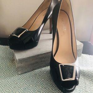 Nine West Platform Black peep toe shoes